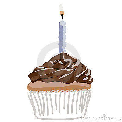 Birthday cupcake blue vector