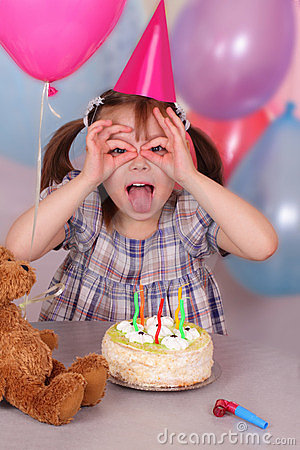Birthday Of Funny Little Girl Royalty Free Stock Image