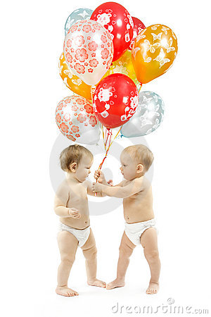 Birthday gift. Children present balloons