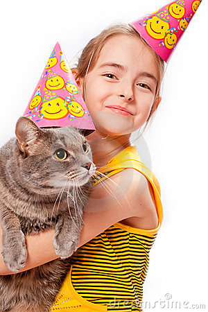 Birthday girl and cat
