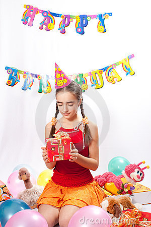 Birthday girl and gifts