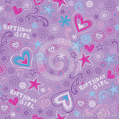 Birthday Girl Sketchy Doodles Seamless Pattern