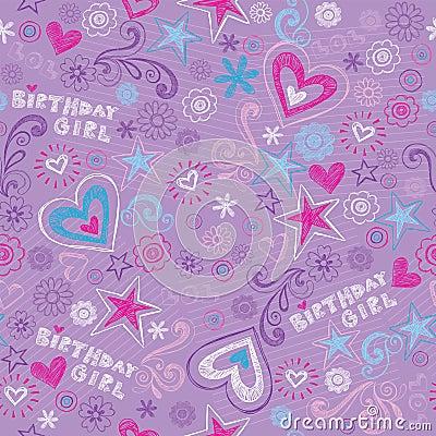 Birthday Girl Sketchy Doodles Seamless Pattern
