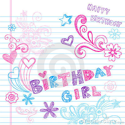 Birthday Girl Sketchy Notebook Doodles Vector