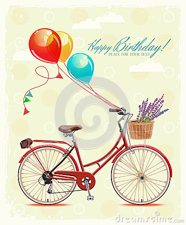 Birthday greeting card with bicycle and balloons in vintage style. Vector illustration. Vector Illustration