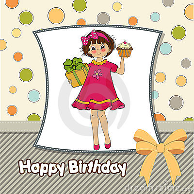 Birthday greeting card with girl
