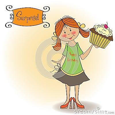 Birthday greeting card with girl and big cupcake