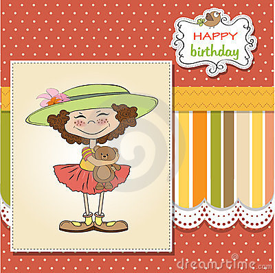 birthday greeting card with girl and her tedd