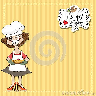 Birthday greeting card with pie