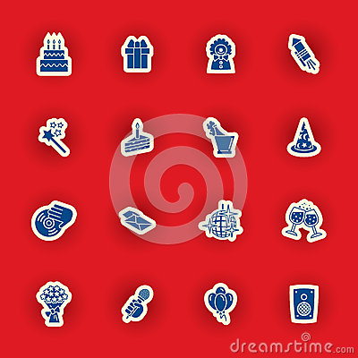Free Birthday Icon Set Isolated On Red Royalty Free Stock Images - 51830089