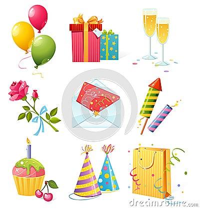 Free Birthday Icons Stock Image - 9959771