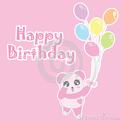 Birthday illustration with cute baby pink panda bring balloons Vector Illustration