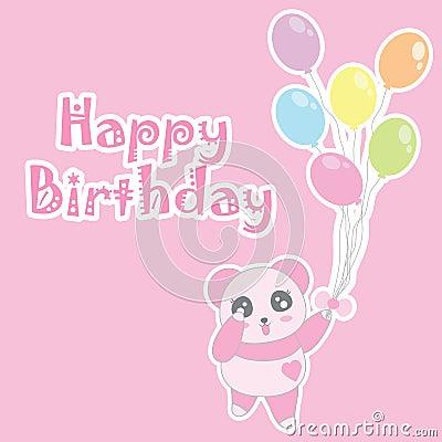 Birthday illustration with cute baby pink panda bring balloons Vector Illustration