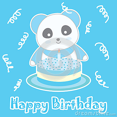 Birthday illustration with cute blue panda and birthday cake on blue background Cartoon Illustration