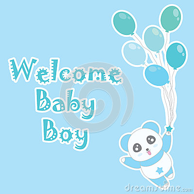 Birthday illustration with cute blue panda bring balloons on blue background Cartoon Illustration