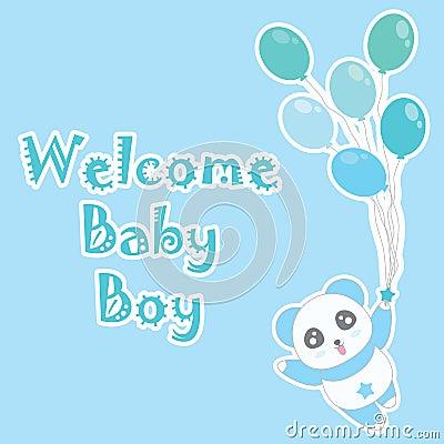 Birthday illustration with cute blue panda bring balloons on blue background Cartoon Illustration