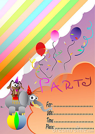 Birthday invitation card with circus animals
