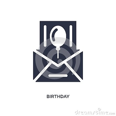 birthday invitation icon on white background. Simple element illustration from birthday party and wedding concept Vector Illustration