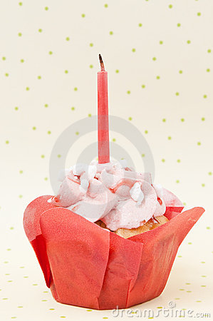 Birthday muffin with candle