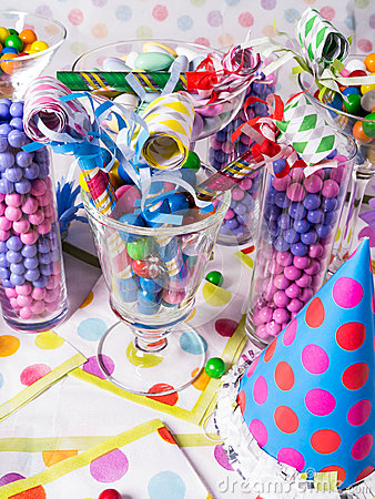 Birthday Party Candy Station with Party Blowers