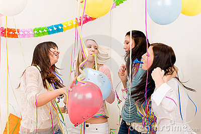 Birthday party celebration - woman with confetti
