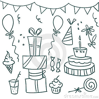 Birthday party doodles Vector Illustration