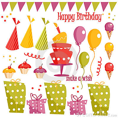 Free Birthday Party Graphic Elements Stock Image - 12559391