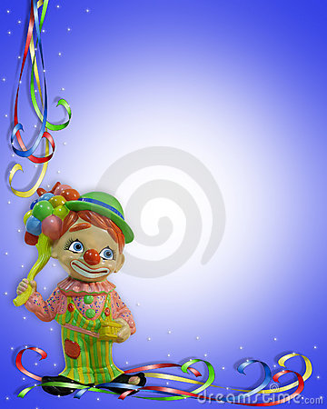 Free Birthday Party Invitation Clown Border Stock Photo - 9670040