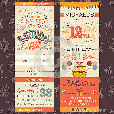 Free Birthday Party Invitation Ticket Royalty Free Stock Photo - 47360865