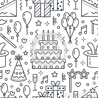 Birthday party seamless pattern, flat line illustration. Vector icons of event agency, wedding organization - cake Vector Illustration