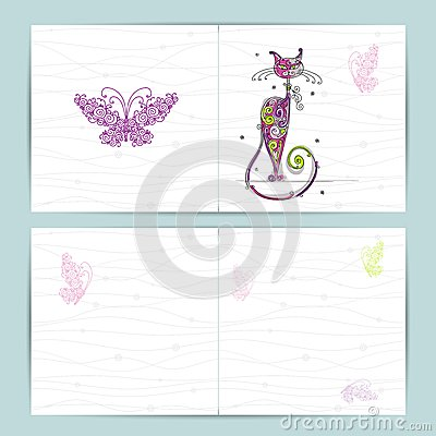 Birthday postcard with cute cat and butterfly for