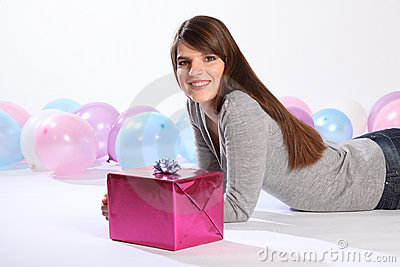 Birthday present for beautiful happy young woman