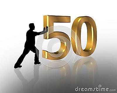 Birthday Pushing 50 3D Graphic