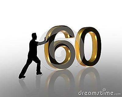 Birthday Pushing 60 3D Graphic