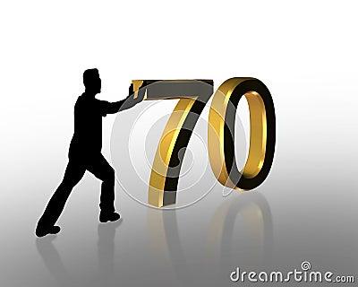 Birthday Pushing 70 3D Graphic