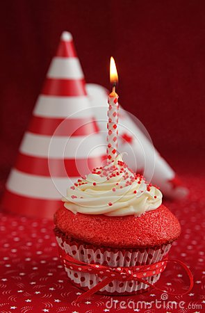 Birthday red velvet cupcake