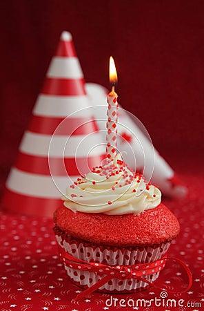 Birthday red velvet cupcake