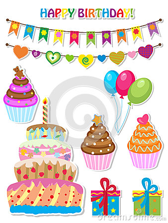 Free Birthday Set Royalty Free Stock Photography - 26003017