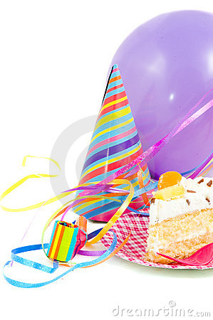 Free Birthdaycake With Balloon And Streamers Stock Photo - 10965810