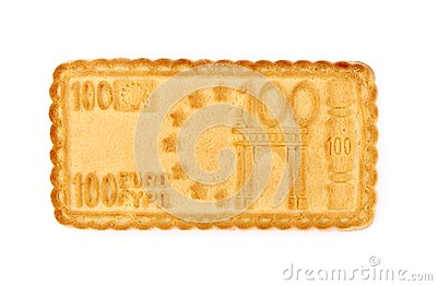 Biscuit in the form Euro isolated on white