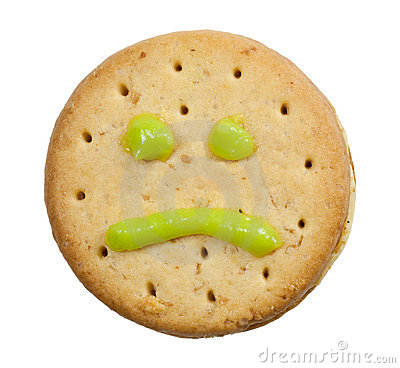 Biscuit with sad face