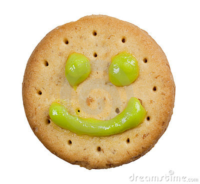 Biscuit with smiley face