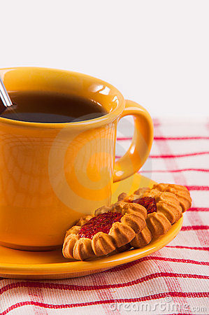 Biscuits with cup of tea
