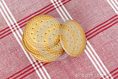 Biscuits on a tablecloth
