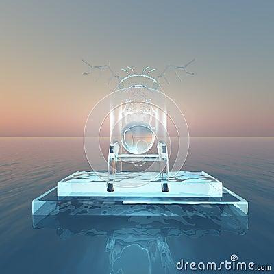 Biskopsstol av ljus över vatten