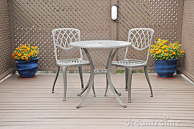 Bistro Table and Chairs on the Deck
