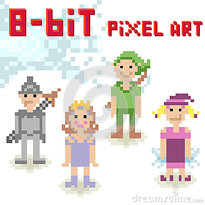 8-bit pixel character set of fantasy people