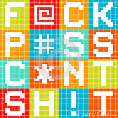 8-bit Pixel 4-Letter Swear Words in Squares