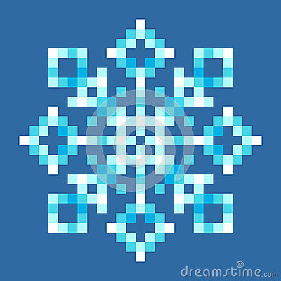 Bit pixel snowflake eps8 vector with each square separated for easy