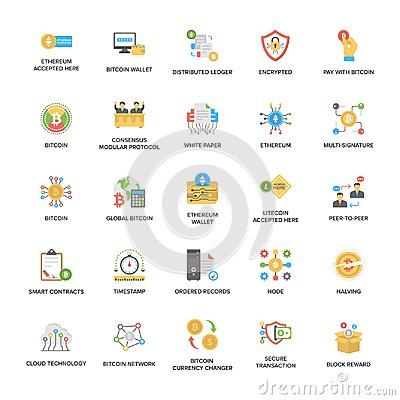 Free Bitcoin And Cryptocurrency Icons Set Stock Photography - 117730202